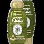 Bild: GARNIER Wahre Schätze Olive Shampoo + Spülung