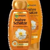 Bild: GARNIER Wahre Schätze Argan Öl Shampoo + Spülung