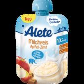Bild: Alete Quetschbeutel Milchreis Apfel-Zimt