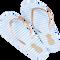 Bild: LOOK BY BIPA Flip Flop weiß-blau gestreift mit goldener Ananas