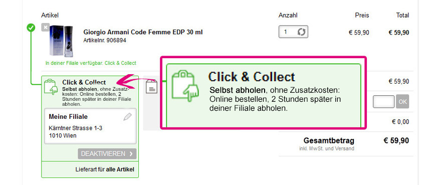 Click & Collect im Warenkorb aktivieren