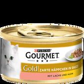 Bild: GOURMET Gold Zarte Häppchen in Sauce mit Lachs & Huhn