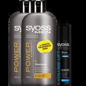 Bild: syoss PROFESSIONAL Power for Men Shampoo + gratis Mini Haarspray