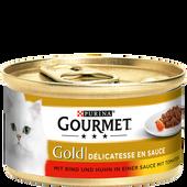 Bild: GOURMET Gold Délicatesse in Sauce, Rind & Huhn in Tomatensauce