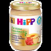 Bild: HiPP Für kleine Feinschmecker Früchte á la Pfirsich Melba mit Keks