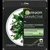 Bild: GARNIER SKIN ACTIVE Schwarze Tuchmaske - Klärende, Feuchtigkeitspendende und Mattierende Maske