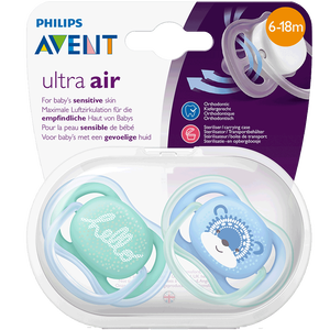 Bild: PHILIPS AVENT Schnuller Ultra Air, 6-18 Monate, Hello/Bär türkis/blau