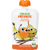 Bild: Freche Freunde Quetschbeutel Birne, Banane, Orange, Vanille