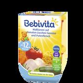 Bild: Bebivita Makkaroni auf Tomaten-Zucchini-Gemüse und Putenfleisch