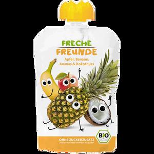 Bild: Freche Freunde Quetschbeutel Apfel, Banane, Ananas & Kokosnuss