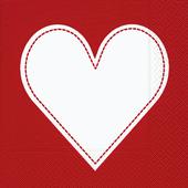 Bild: Paper + Design Design Valentinstag Servietten Herz rot/weiß