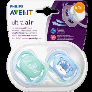 Bild: PHILIPS AVENT Schnuller Ultra Air, 6-18 Monate, Hello/Bär türkis/blau