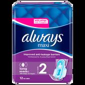 Bild: always maxi Binden mit verbesserter Auslaufbarriere Größe 2