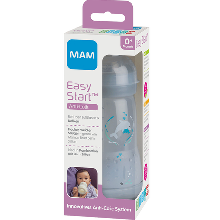 MAM Easy Start Anti-Colic 260ml Time for Love - Babyflasche Grau