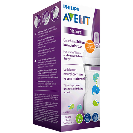 PHILIPS AVENT Flasche Naturnah, 260ml, 1 Monat+, Wal