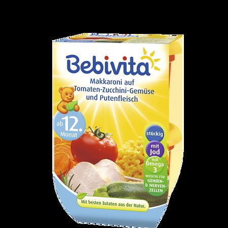 Bebivita Makkaroni auf Tomaten-Zucchini-Gemüse und Putenfleisch