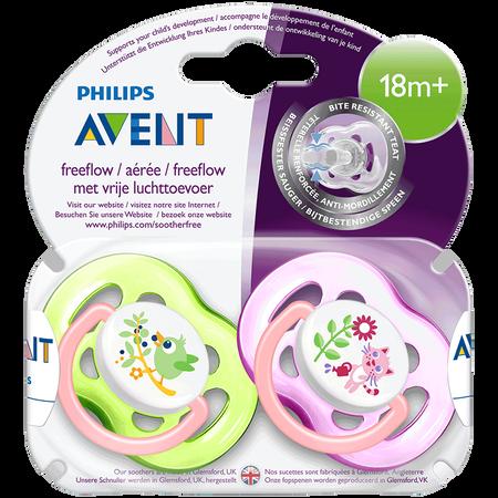 PHILIPS AVENT Schnuller Freeflow, 18 Monate+, Tiere grün/rosa