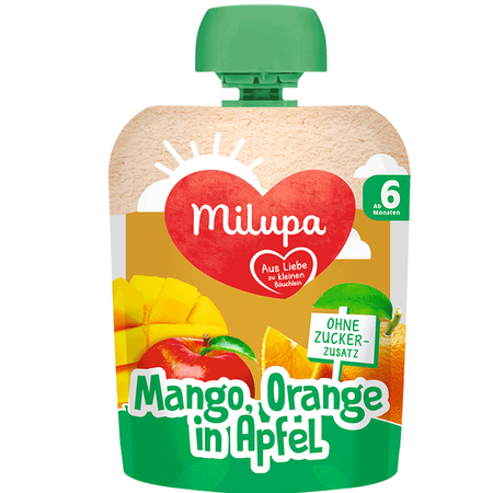 Milupa Quetschbeutel Mango, Orange in Apfel