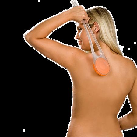 hydas Rücken-Cremer mit transparentem Griff/ Aufsatz orange