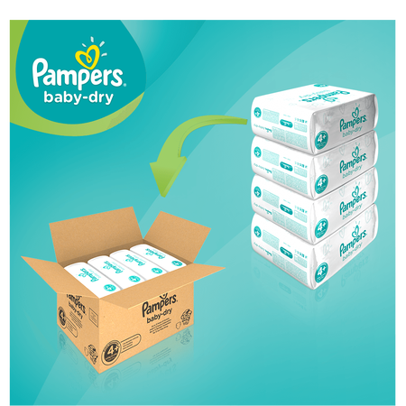 Pampers Baby Dry Gr.4+ Maxi Plus 10-15kg MonatsBox