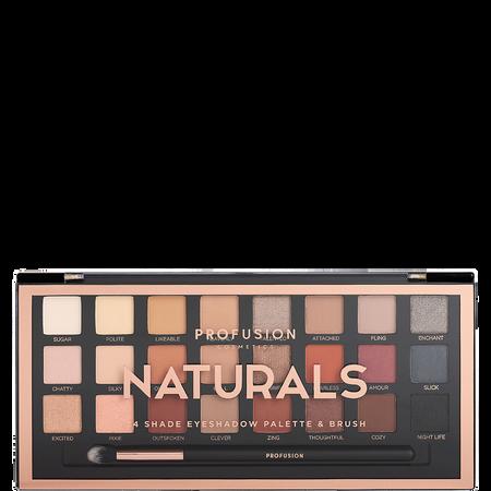 profusion cosmetics Naturals 24 Shade Eyeshadow Palette & Brush