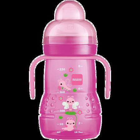 MAM Trainer+ 220ml - Babyflasche und Becher Rosa