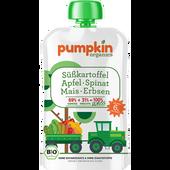 Bild: pumpkin organics Bio Gemüse-Quetschie GENUSS aus Süßkartoffel, Spinat, Mais, Erbsen mit Apfel