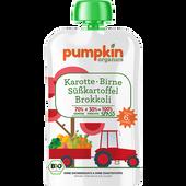 Bild: pumpkin organics Bio Gemüse-Quetschie SPASS aus Karotte, Süßkartoffel, Brokkoli mit Birne
