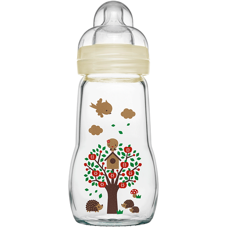 MAM Feel Good 260ml - Babyflasche aus Glas Beige