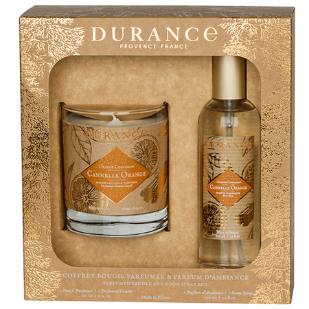 DURANCE Set Duftkerze & Raumspray Zimt-Orange
