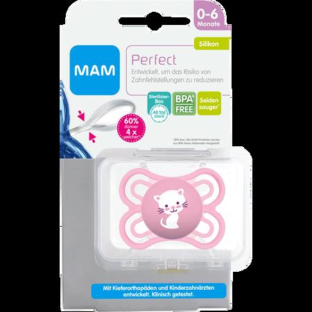MAM Schnuller Perfect, 0-6 Monate, Silikon, rosa