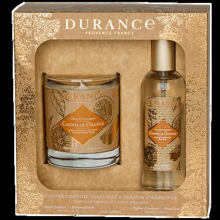 DURANCE Set Duftkerze & Raumspray Zimt-Orange