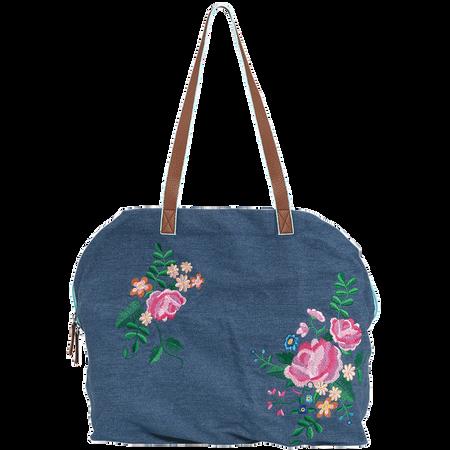LOOK BY BIPA Denimtasche mit Blumenmotiv