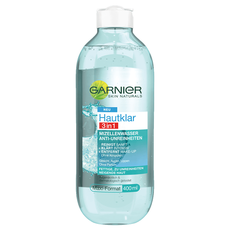 Bild: GARNIER SKIN NATURALS Hautklar 3in1 Mizellenwasser  GARNIER SKIN NATURALS Hautklar 3in1 Mizellenwasser