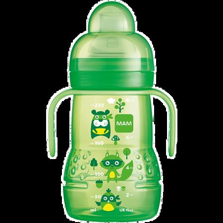 MAM Trainer+ 220ml - Babyflasche und Becher Grün