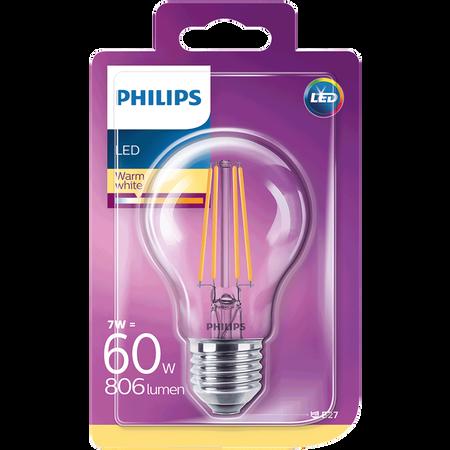 PHILIPS LED Lampe 60W E27 klar