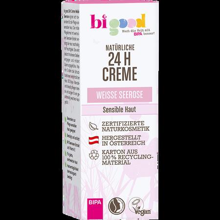 bi good Natürliche 24h Creme weiße Seerose für sensible Haut