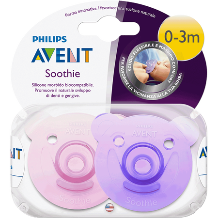 PHILIPS AVENT Schnuller Soothie, 0-3 Monate, lila/rosa