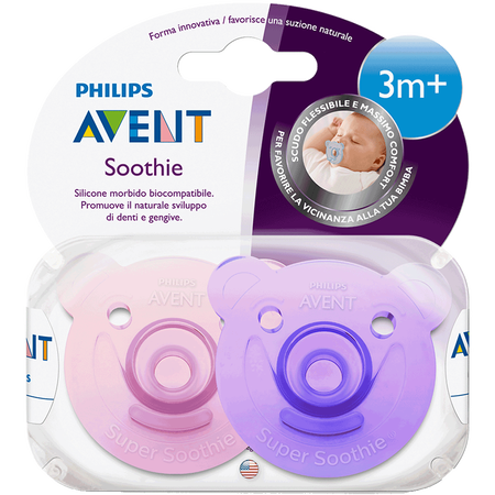 PHILIPS AVENT Schnuller Soothie, 3 Monate+, lila/rosa