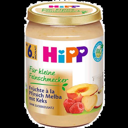 HiPP Für kleine Feinschmecker Früchte á la Pfirsich Melba mit Keks