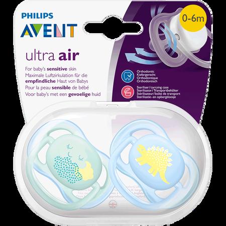 PHILIPS AVENT Schnuller Ultra Air, 0-6 Monate, Wolke/Dino türkis/blau
