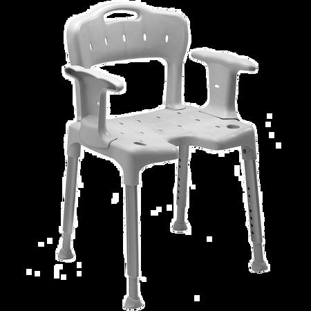 FRÜHWALD Duschstuhl mit Arm- und Rückenlehne grau
