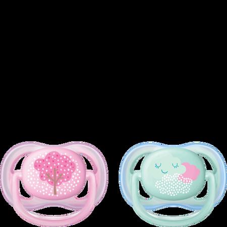 PHILIPS AVENT Schnuller Ultra Air, 0-6 Monate, Baum/Wolke rosa/türkis