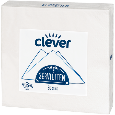 clever Servietten Weiss 3-lagig