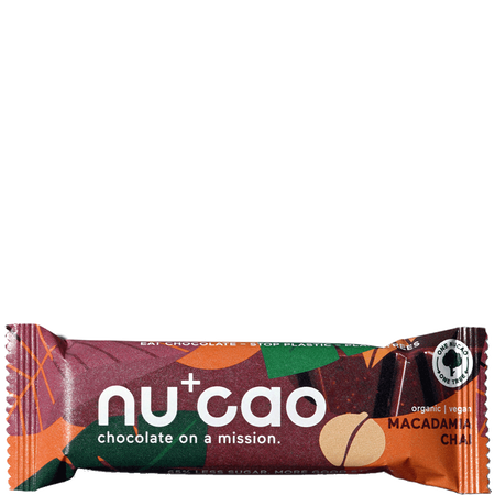 nu cao chocolate Bar mit Hanfsamen Macadamia Chai