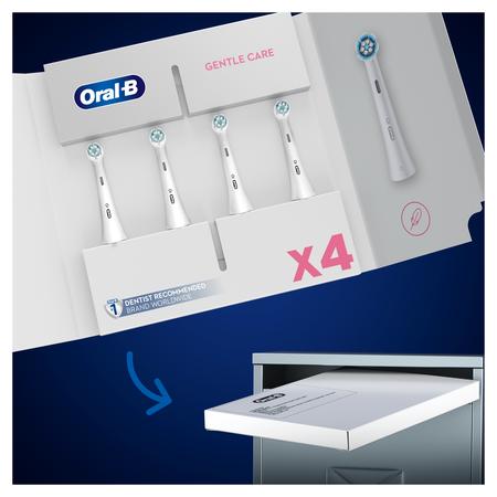 Oral-B iO Sanfte Reinigung Aufsteckbürsten für   ein sensationelles Mundgefühl, Briefkastenfähige Verpackung, 4 Stück