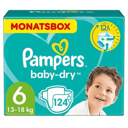 Pampers Baby-Dry Windeln, Gr. 6, 13-18kg,   Monatsbox ( 1 x 124 Windeln)