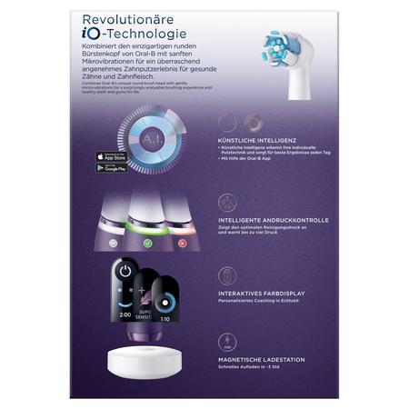 Oral-B iO8 Special Edition Elektrische   Zahnbürste mit Magnet-Technologie, sanfte Mikrovibrationen, Farbdisplay &   Beauty-Tasche, violet ametrine