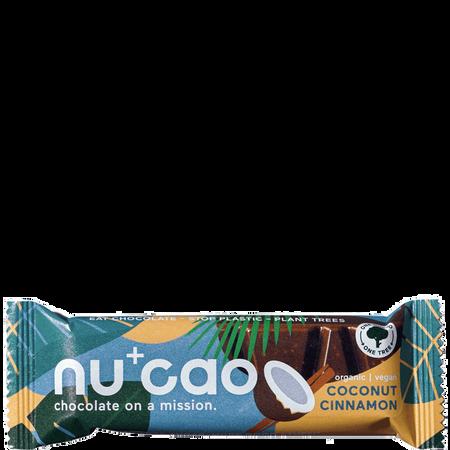nu cao chocolate Bar mit Hanfsamen Coconut Cinnamon