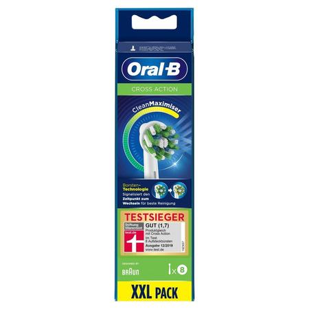 Oral-B CrossAction Aufsteckbürsten mit   CleanMaximiser-Borsten für ganzheitliche Mundreinigung, 8Stück